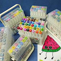 Набор двухсторонних маркеров 18 цветов для скетчинга AH-PM508-18 (круглый+скошен.) в пластик. пенале, фото 1