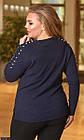 Кофта женская большого размера темно-синий 855507-11, фото 2