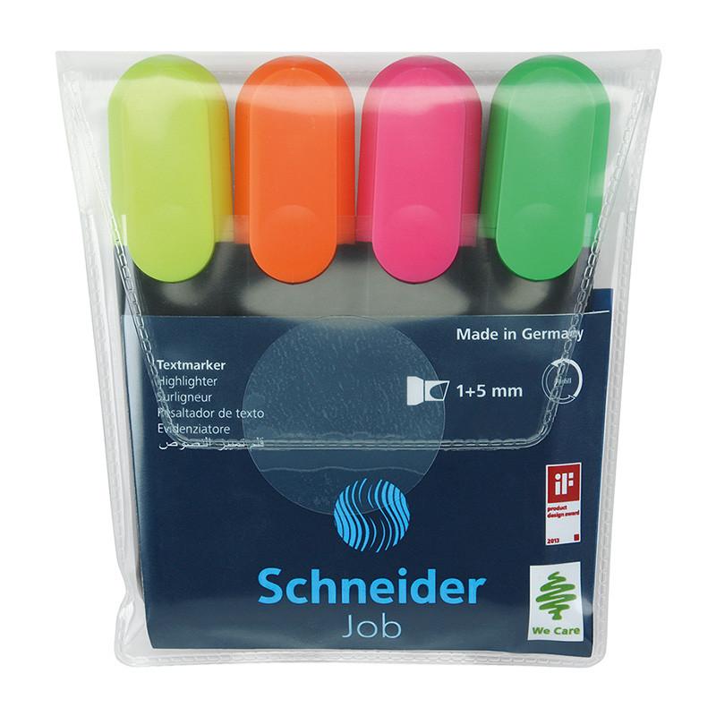 Набор маркеров текстовыделителей SCHNEIDER JOB 1-4,5 мм, 4 цвета в блистере SCHNEIDER  (S1500**)
