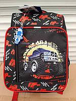 """Черно-красный ортопедический рюкзак для мальчика на 1-3 класс """"Школьник"""" ТМ Bagland, 660 сублимация"""