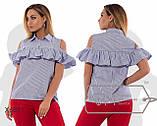 Стильная хлопковая рубашка в полоску с рюшем ,3 цвета р.42,44,46,48,50,52,54код 350/351Д, фото 5