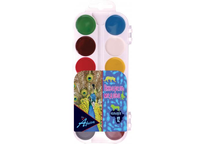 Акварель медовая AFRICA sky, 12 цветов, б/кисточки, пластик (60300) economix  (60300)