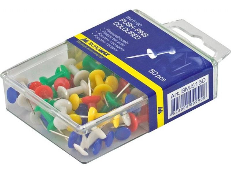 Набор кнопок-гвоздиков Buromax 50 шт Цветные (BM.5150) buromax  (108814062)