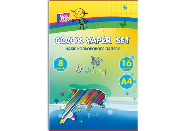 Бумага цветная 16листов, 8цветов ( CF05280) cool for school  ( CF05280)