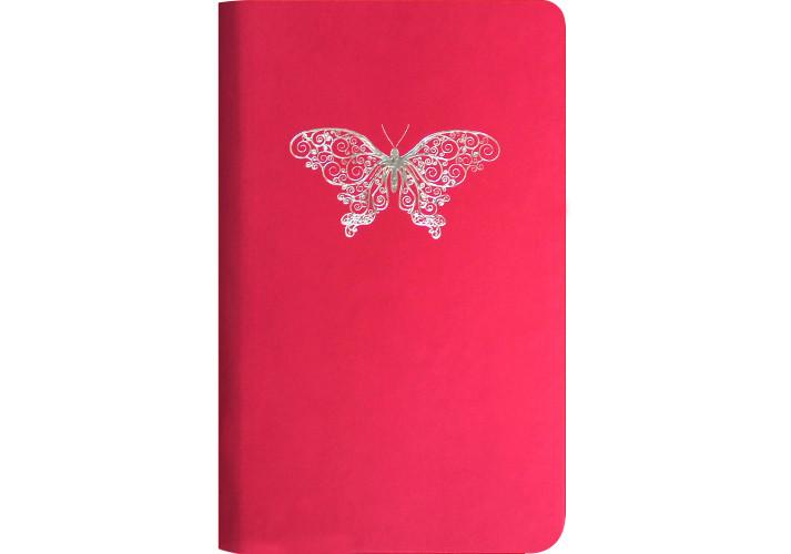 Деловая записная книжка А5, тиснение ″Мотылек″, (O20800-03) твердая , розовая Optima  (O20800-03)