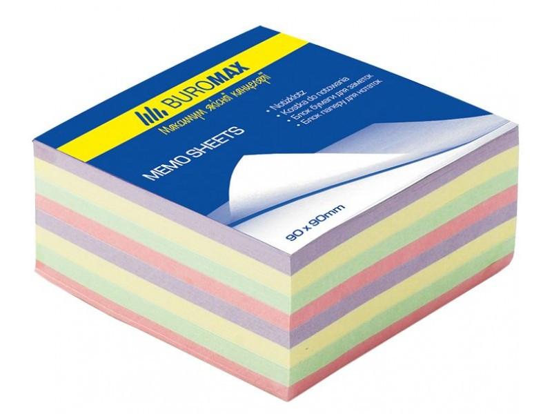 Блок бумаги для заметок проклеенный Buromax 90х90х40мм ассорти цветов BM.2284 buromax