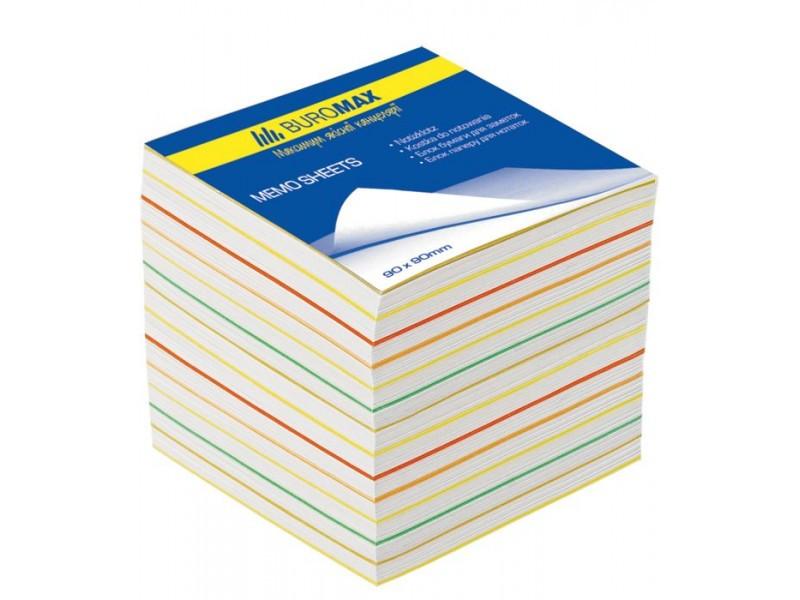 Блок бумаги для записей РАДУГА, JOBMAX, 90х90х70 мм, не склеенный BM.2249 buromax  (78474992)