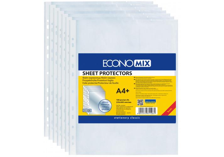 Файл для документов А4 + Economix, 30 мкм, фактура ″апельсин″ (100 шт / уп) (E31106-50) economix  (E31106-50)