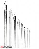 """Набор сверл """"пика"""" для стекла и плитки 8 шт (4*60, 5*65, 2шт 6*68, 2шт 8*70, 10*85, 12*90мм) GRANITE"""