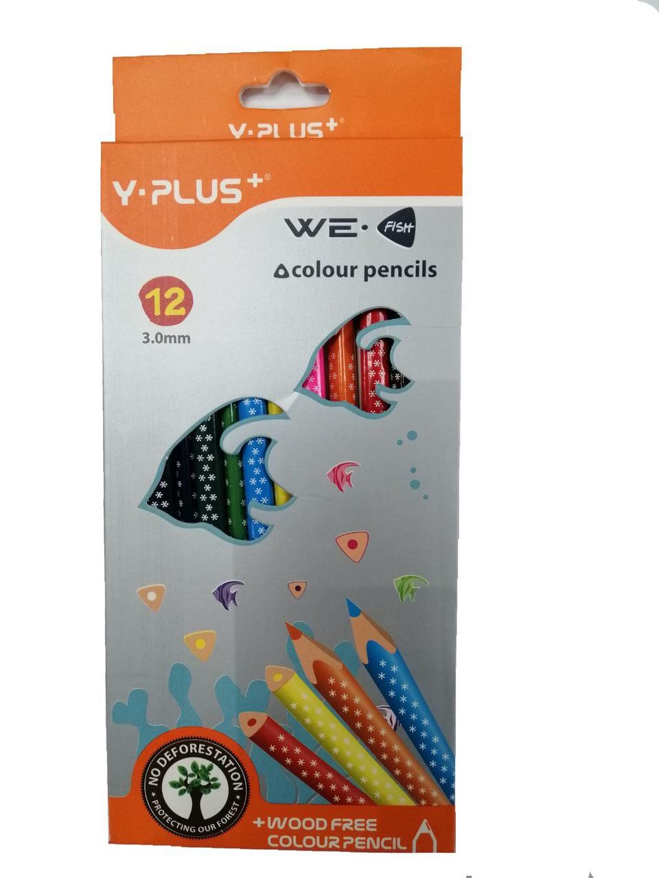 Карандаши цветные треугольные Y- Plus 12 цветов 3,0mm (150110)   (150110)