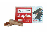Скобы для степлера  Optima, №10, 1000 шт, медные (O40353) Optima  ((O40353))