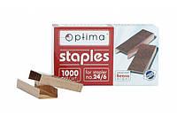 Скобы для степлера Optima, №24, 1000 шт, медные (O40354) Optima (40354)