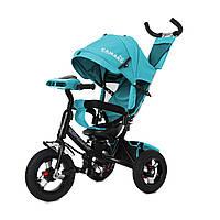 Детский трехколесный велосипед музыка свет TILLY Camaro T-362/1 Бирюзовый надувные колеса поворотное сидение