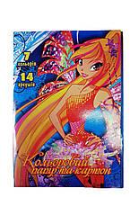 Бумага цветная+цветной картон 14листов, 7цветов  LK  (777)