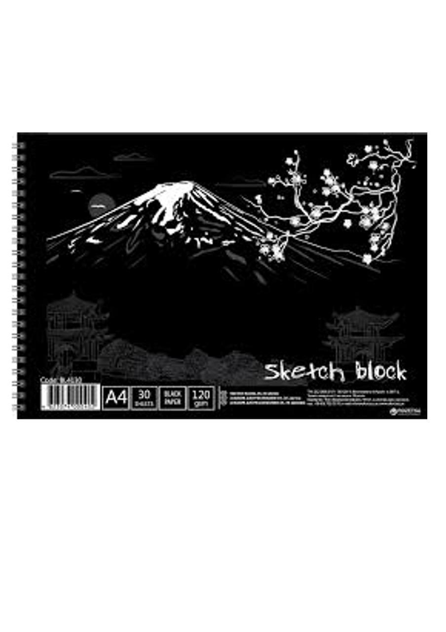 Альбом для малювання Офорт А4 30 аркушів чорного кольору (BL4130) LK (904025)