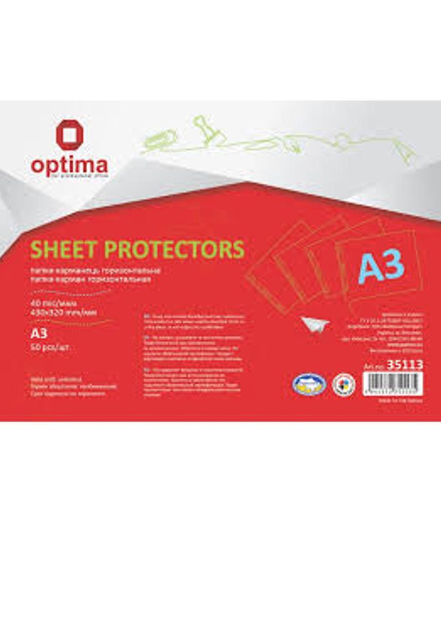 Файл для документов А3 Optima, 40 мкм, горизонтальный, фактура ″глянец″ (50 шт / уп)(O35113) Optima  (O35113)