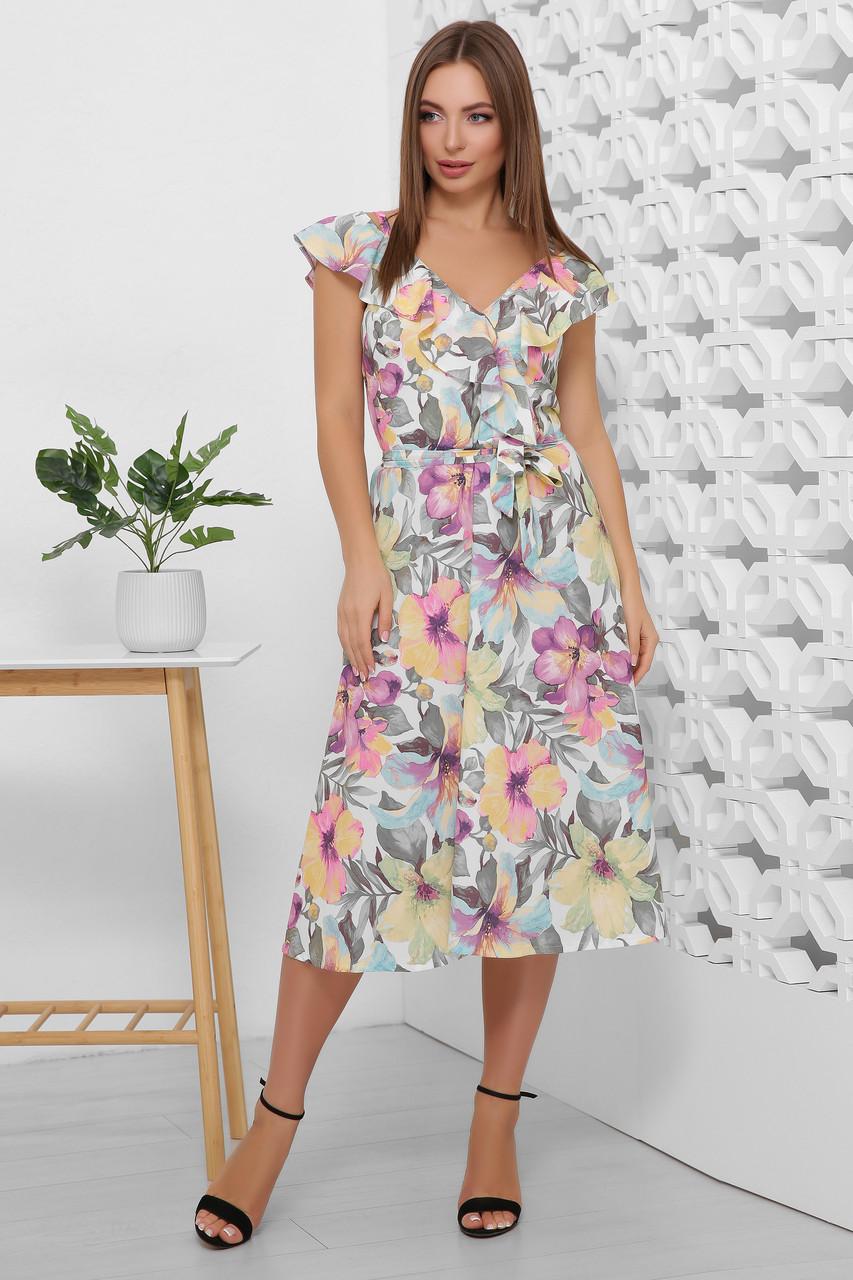 Платье летнее длинное с цветами на бретелях с поясом. Размеры 44-50. Платье летнее фиолетовое супер софт