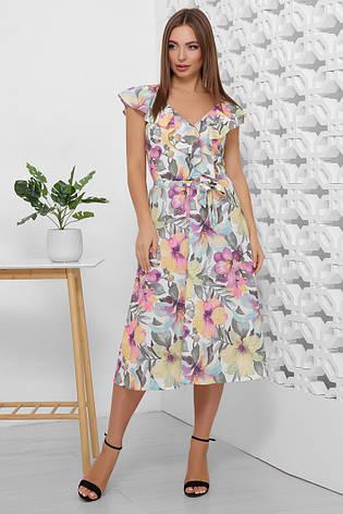 Платье летнее длинное с цветами на бретелях с поясом. Размеры 44-50. Платье летнее фиолетовое супер софт, фото 2
