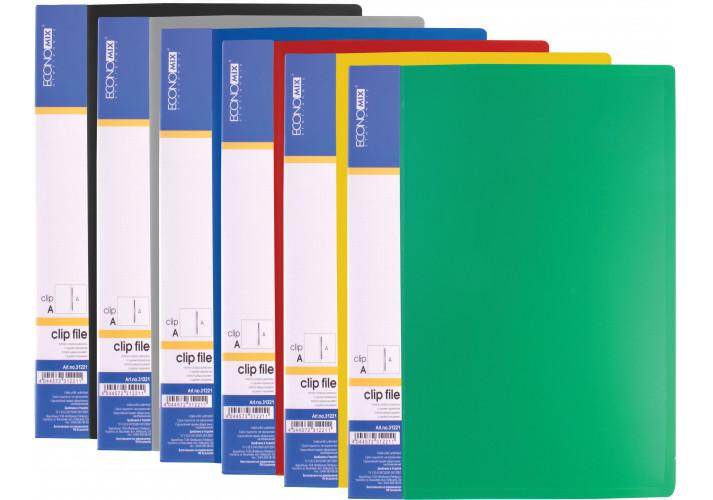 Папка-скоросшиватель А5 пластиковая CLIP А, ассорти (E31221) economix  (E31221)