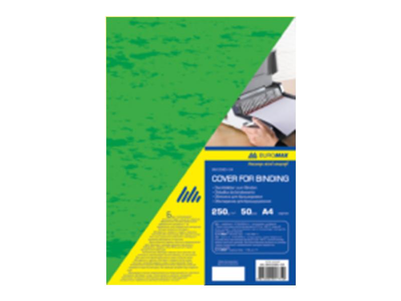 Обложка для переплета, А4, 250г/м2, фактура ″под кожу″, зеленая, по 50 шт.  ( BM.0580-04) buromax