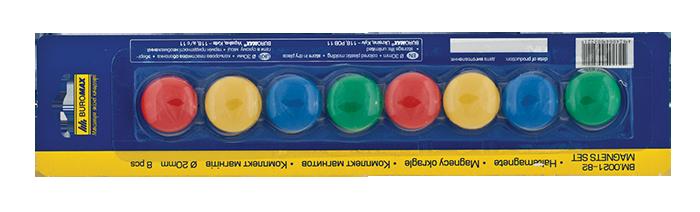 Комплект магнітів, 20 мм, по 8 шт. в упаковці ( BM.0021-82) buromax ( BM.0021-82)