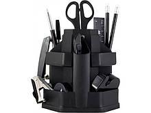 Набор настольный, JOBMAX, с наполнением (16 предметов), пластиковый, черный ( BM.6302-01) buromax