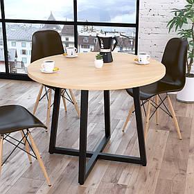 Стол обеденный Бланк металл Черный матовый, столешница ДСП Дуб Борас 1000*1000*762 мм (Loft Design TM)