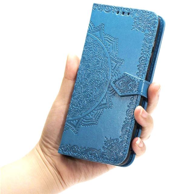 Чехол книжка фактурный рисунок синий для Realme 5 Pro - 2