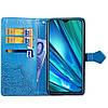 Чехол книжка для Realme 5 Pro боковой с отсеком для визиток, Фактурный рисунок, Синий, фото 2