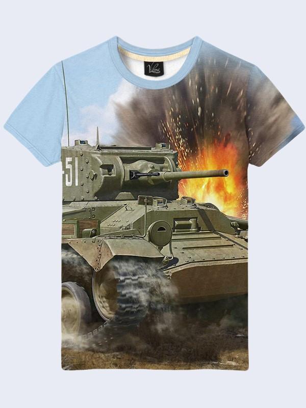 Мужская футболка с принтом Танки в бою World of Tanks