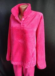 Тепла жіноча махрова піжама, домашній костюм, верх гудзики, р. 46-48,50-52 рожева
