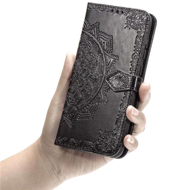 Чехол книжка фактурный рисунок для Realme XT черный - 2