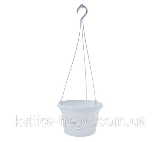 Подвесной горшок Глория с ПОДВЕСКОЙ 20*13 белый флок (2,0л)