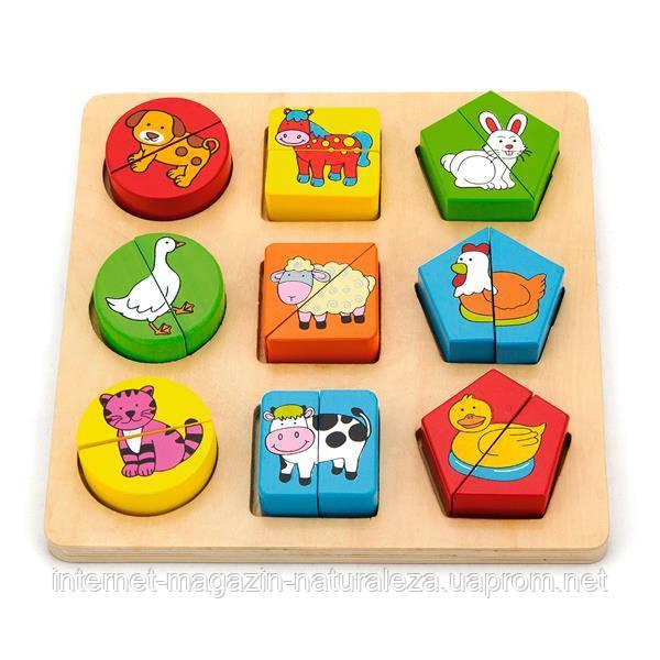 Пазл Viga Toys Формы и животный мир (59585)