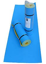 Каремат для фитнеса и йоги, желто-синий, т. 10 мм, размер 60х180 см, производитель Украина, TERMOIZOL®