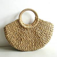 Женская летняя соломенная сумка Корзинка с круглыми ручками бежевая