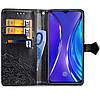 Чехол книжка для Realme XT боковой с отсеком для визиток, Фактурный рисунок, Черный, фото 2