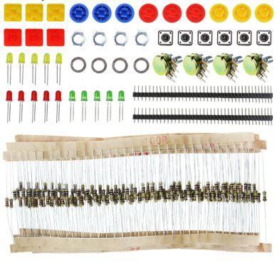 Набір радіодеталей, кнопки, резистори, світлодіоди, гребінка