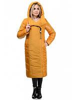 Теплое удлиненное женское плащевое пальто рр 44-52