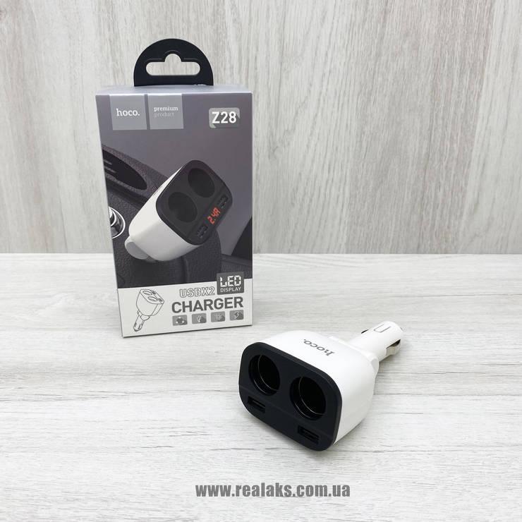 Авторазветвитель прикуривателя Hoco Z28 2 выхода + 2 USB, фото 2