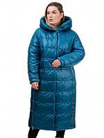 Теплое удлиненное женское зимнее пальто из плащевки рр 52-58