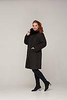 Зимняя  куртка - пуховик с мехом песца и вышивкой в тон пуховика рр 48-60