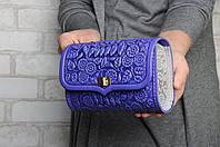 """Кожаная сумочка трансформер, сумочка-клатч на плечо/на пояс """"Незабудка"""", серо-синяя сумочка"""