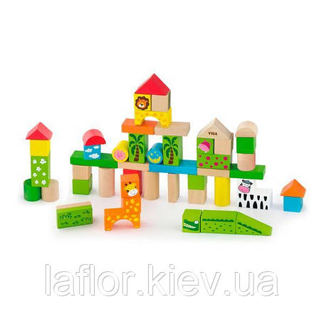 """Набор строительных блоков Viga Toys """"Зоопарк"""", 50 шт., 3 см (50286), фото 2"""