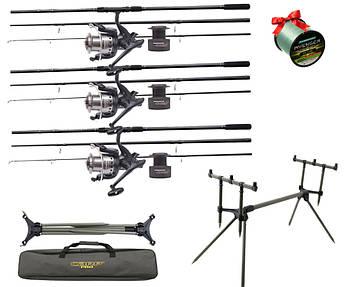 Рыболовный набор для ловли карпа. Удилища Flagman + Катушки Флагман с байтранером 6000 + Род под + Подарок