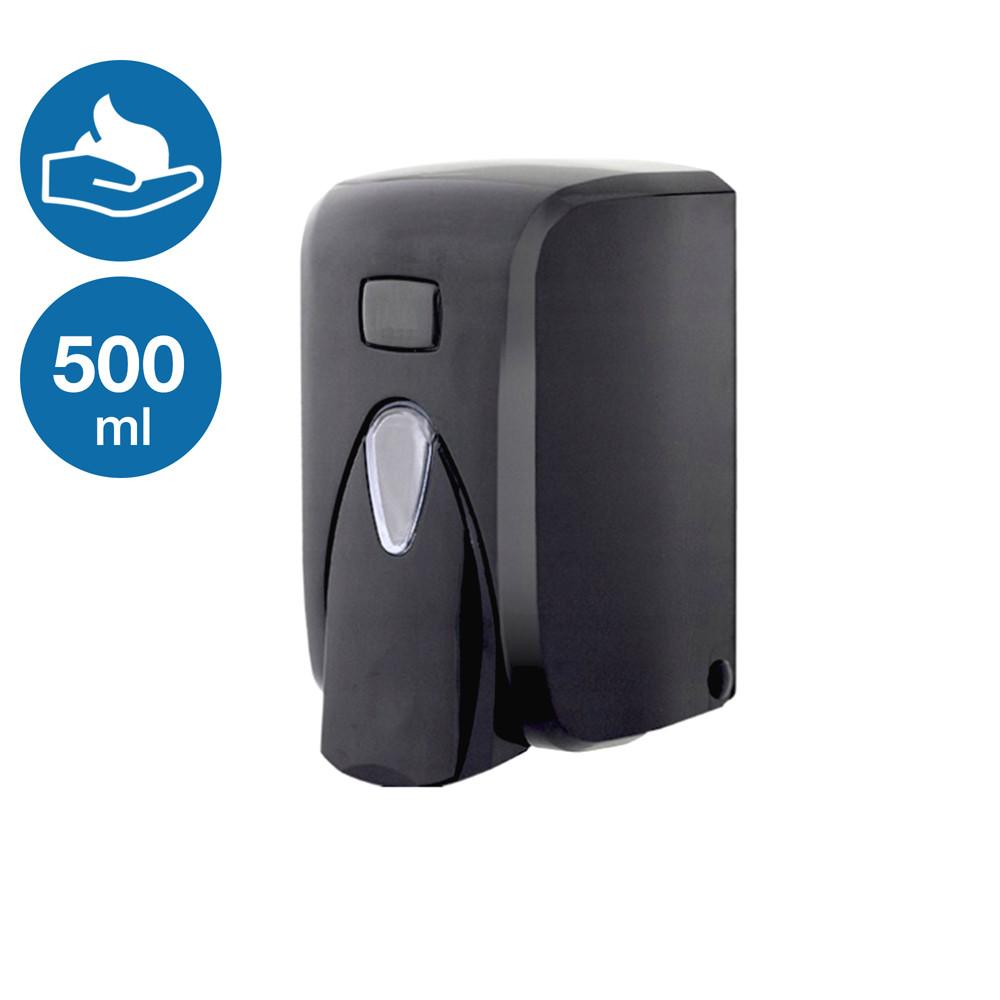 Дозатор раздатчик для жидкого мылa пены с пенообразователем Black наливной черный пластиковый настенный