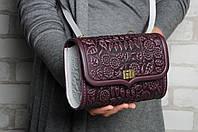 """Фиолетово-белая кожаная сумочка трансформер, сумочка-клатч на плечо/на пояс """"Незабудка"""""""