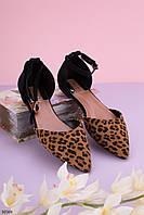 Босоножки женские черные / коричневые/ леопардовые закрытые эко замш, фото 1
