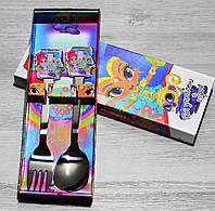 Детские столовые приборы Шиммер и Шайн, ложка+вилка, фото 1