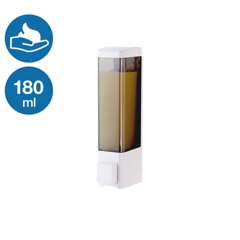 Дозатор пенообразователь для мыла-пены 180 мл кнопочный наливной Rixo Lungo BPS011W белый ударопрочный пластик